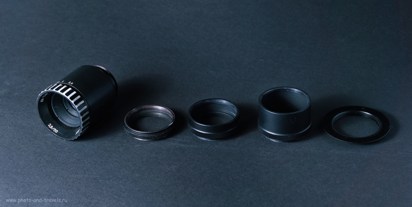 19. Так выглядит объектив Вега-11У с переходником М39/М42, макрокольцами 14мм и 28 мм, адаптером байонета М42/Nikon F.