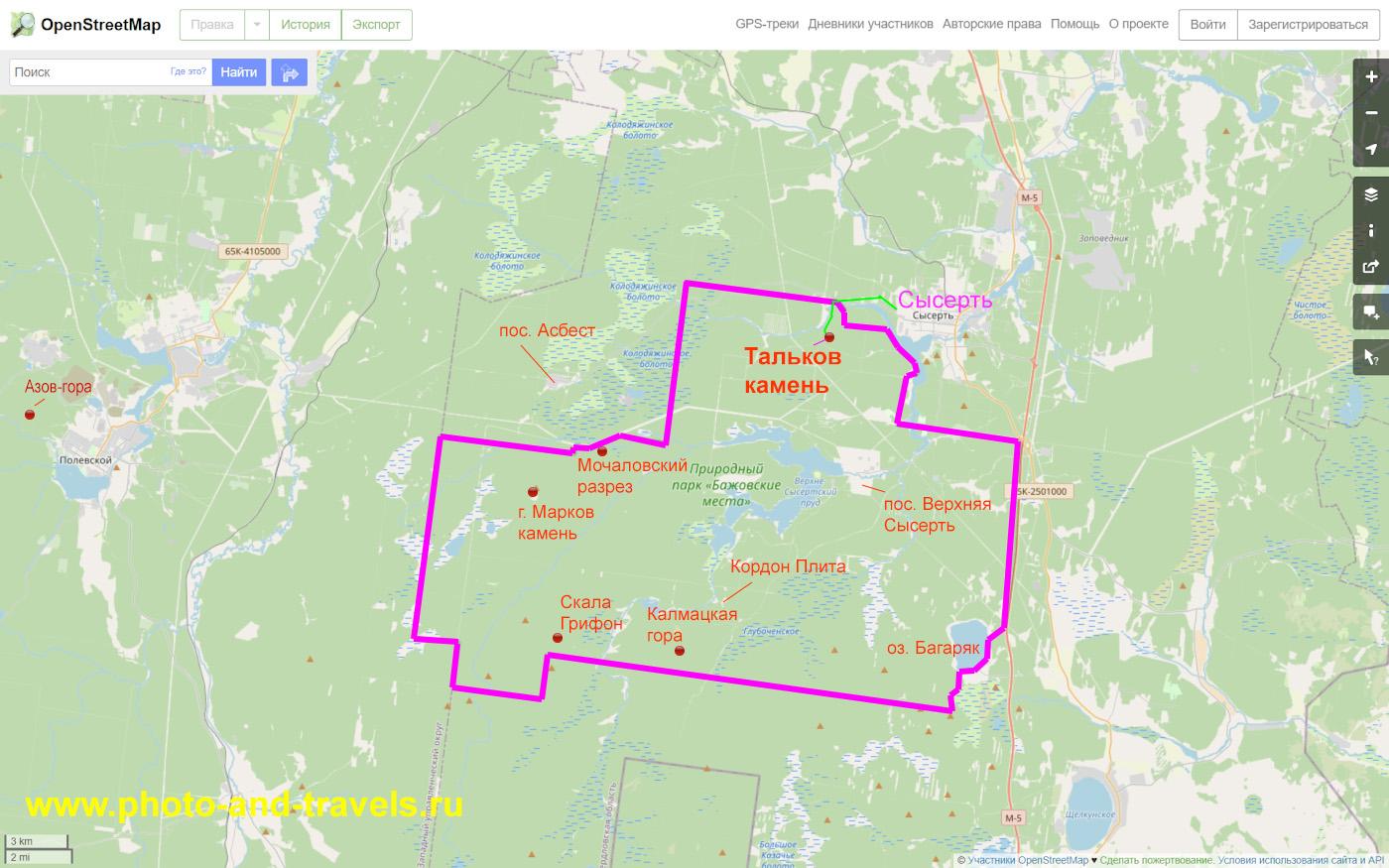 37. Карта со схемой природного парка «Бажовского места», в котором находится озеро Тальков камень и другие интересные достопримечательности.