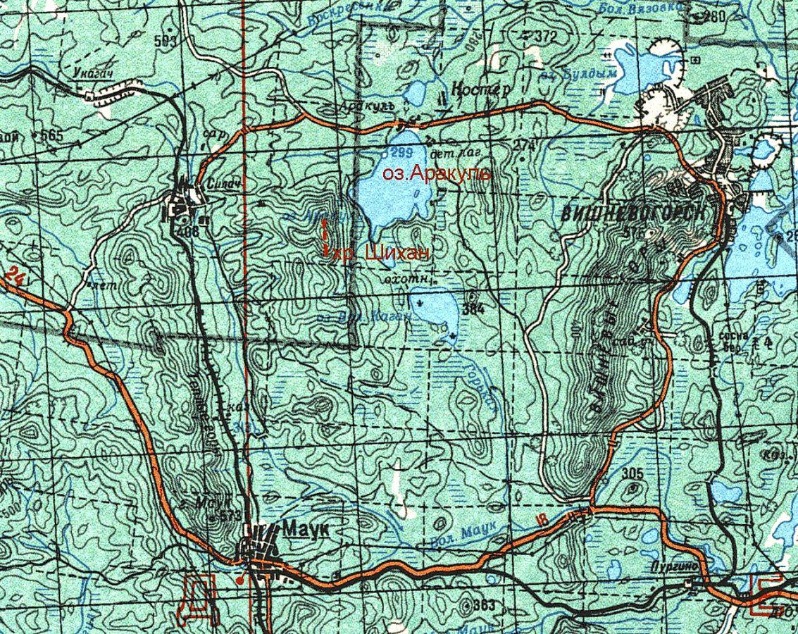 Физическая карта Каслинского района. Видим, где находится озеро Аракуль и гора Аракульский шихан. Дорога через Вишневогорск, поселки Силач и Маук, по которой можно доехать на скалы из городов Касли или Верхний Уфалей.
