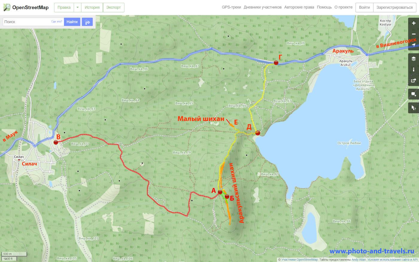 18. Карта со схемой тропы на вершину скалы Аракульский шихан со стороны поселков Аракуль и Силач.