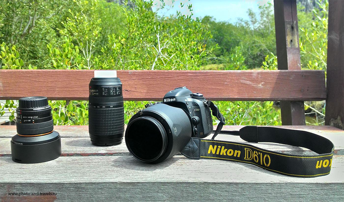 14. Мой фотоаппарат Nikon D610, объективы и поляризационный фильтр HOYA HD Circular-PL (снято на смартфон). Для съемки в путешествии мне нужен и широкоугольный фикс, и универсальный зум, и телеобъектив.