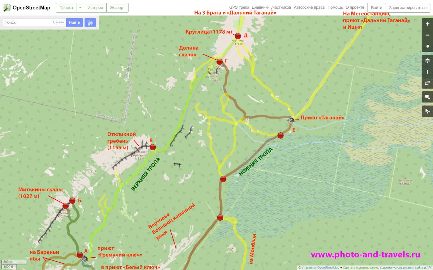 20. Карта маршрутов из приюта «Гремучий ключ» к Митькиным скалам, Откликному гребню, в Долину сказок и на вершину Круглицы, а также к северной вершине Двуглавой сопки, которая называется Бараньи лбы.