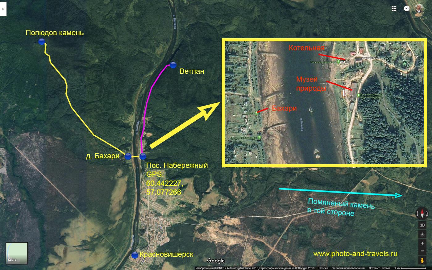Карта со схемой, показывающей как добраться из Красновишерска в поселок Набережный, из него - в деревню Бахари и далее на Полюд. Если проехать прямо вдоль реки Вишера, попадем на камень Ветлан.