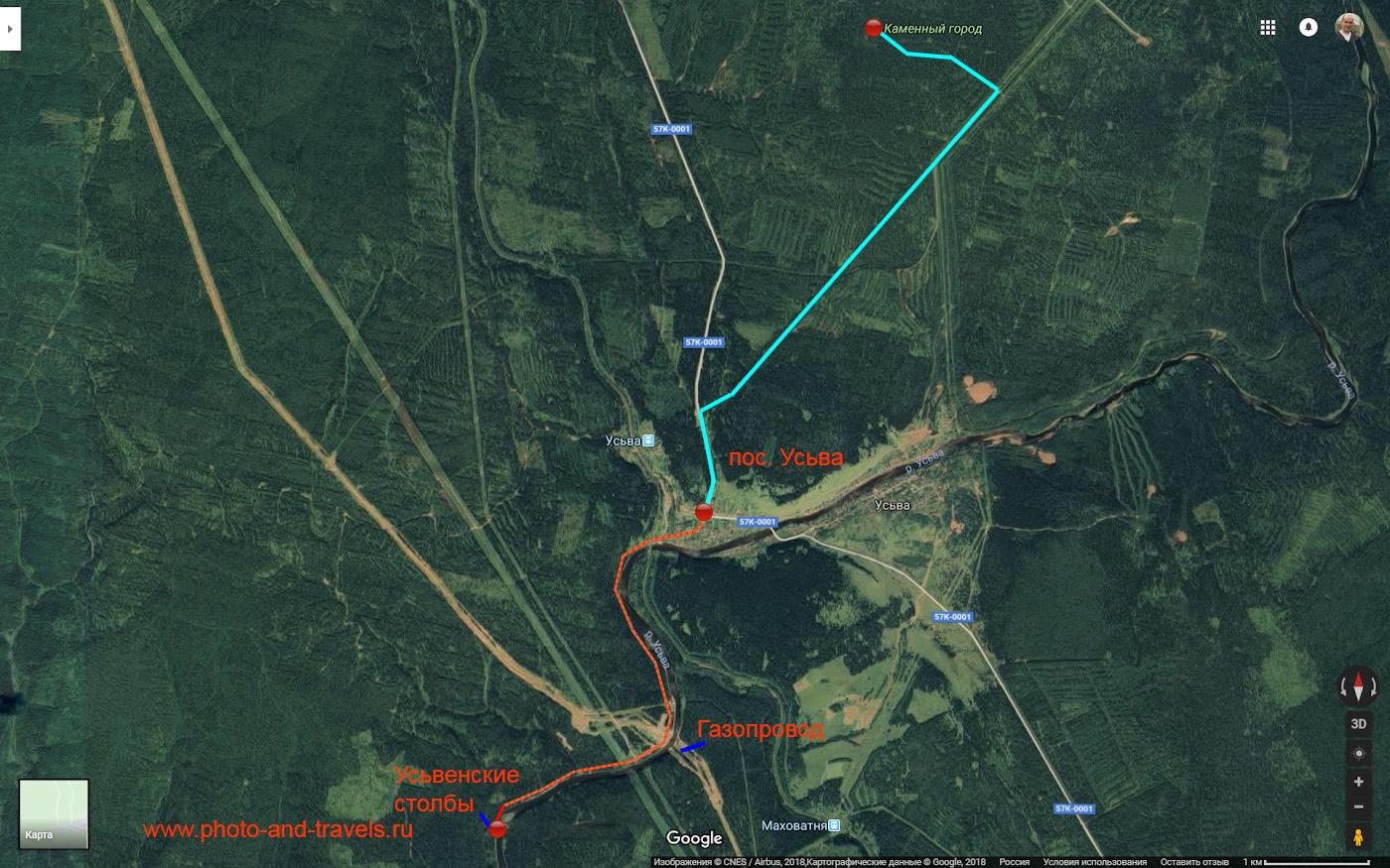 Карта со схемой маршрута, как добраться до Усьвинских столбов и до скал Каменный город из поселка Усьва.