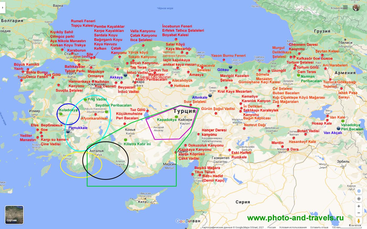 28. Карта со схемой расположения интересных мест Турции, к которым можно съездить из Стамбула, Фетхие, Анталии или Алании.