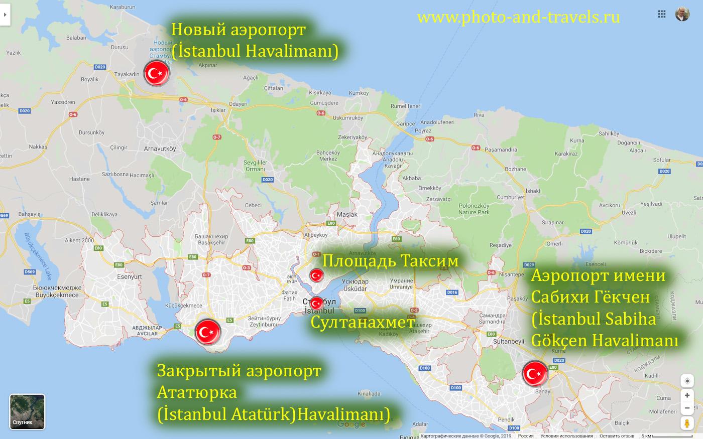 45. Карта со схемой расположения Нового аэропорта, Сабихи Гёкчен и Ататюрка в Стамбуле.