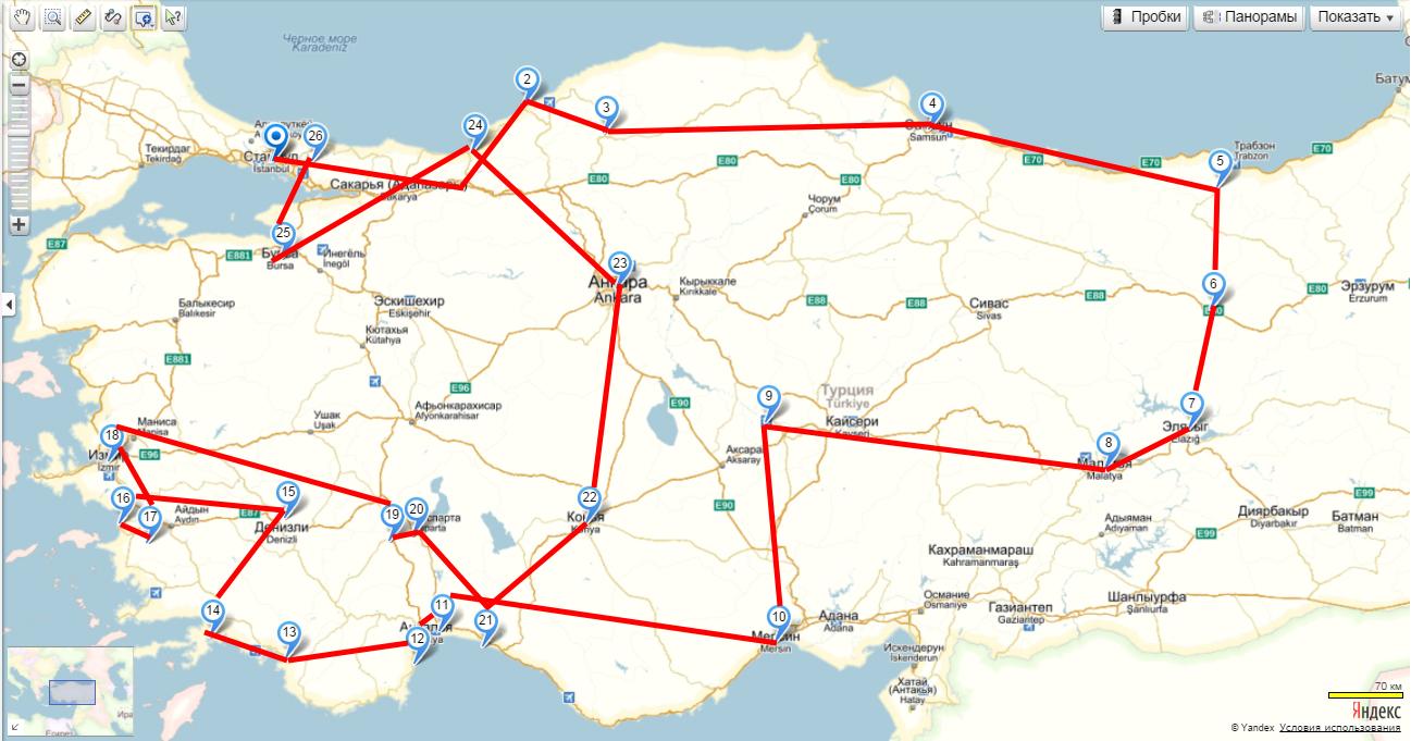 1. Карта со схемой автомобильного путешествия по интересным местам Турции.