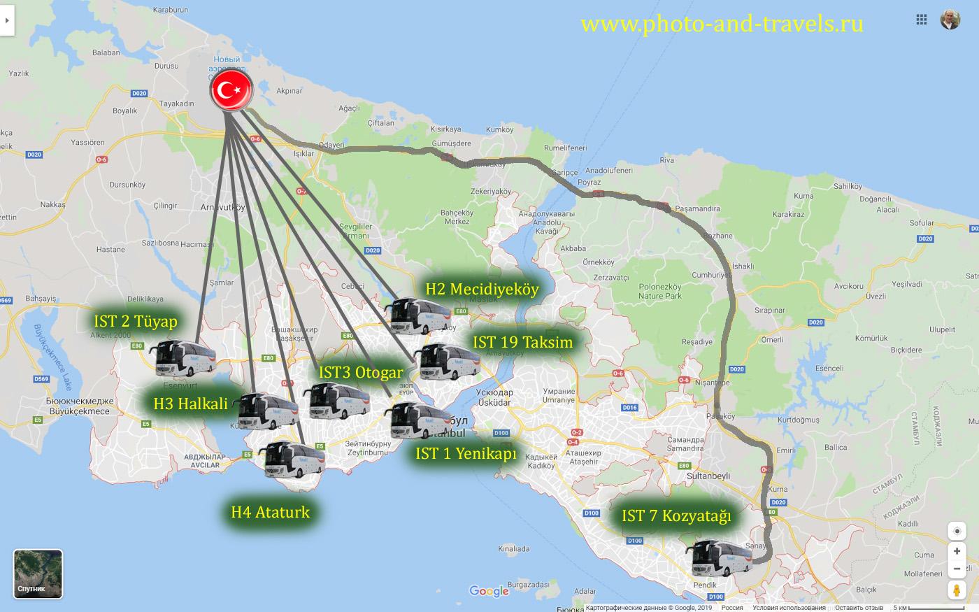 46. Схема маршрутов автобусов (шаттлов) «Havaist», поясняющая, как добраться в центр города на площади Таксим и Султанахмет.