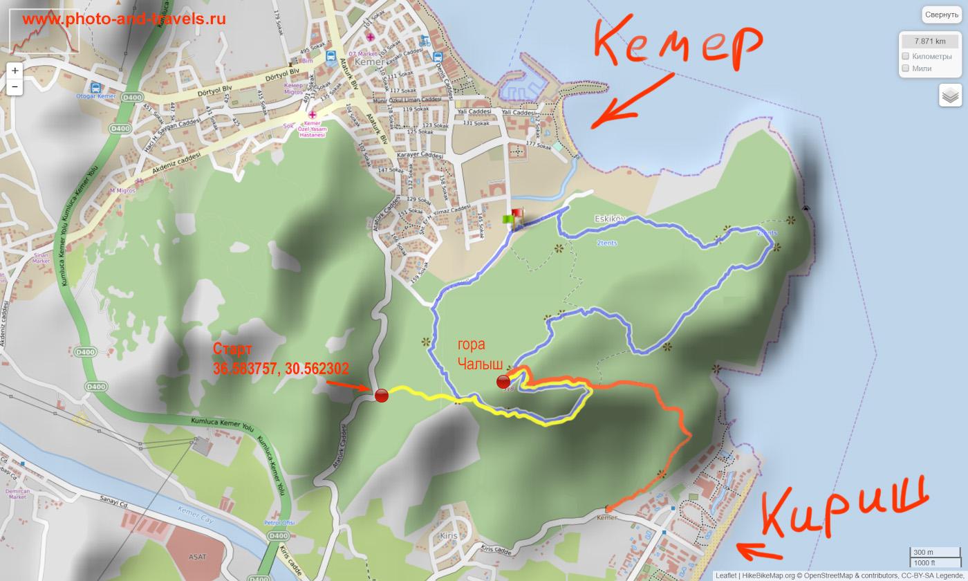 """Карта со схемой маршрута к вершине """"Горы с флагом"""", куда можно подняться из Кемера и из поселка Кириш. Другое название вершины - Чалыш-тепе (Çalış Tepe)."""
