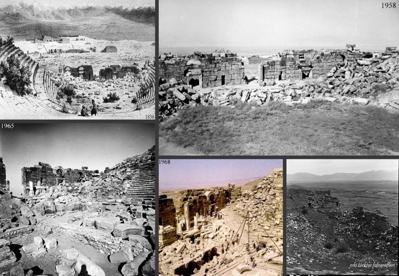 Фото 27. Так выглядели руины театра Иераполиса в разные годы.