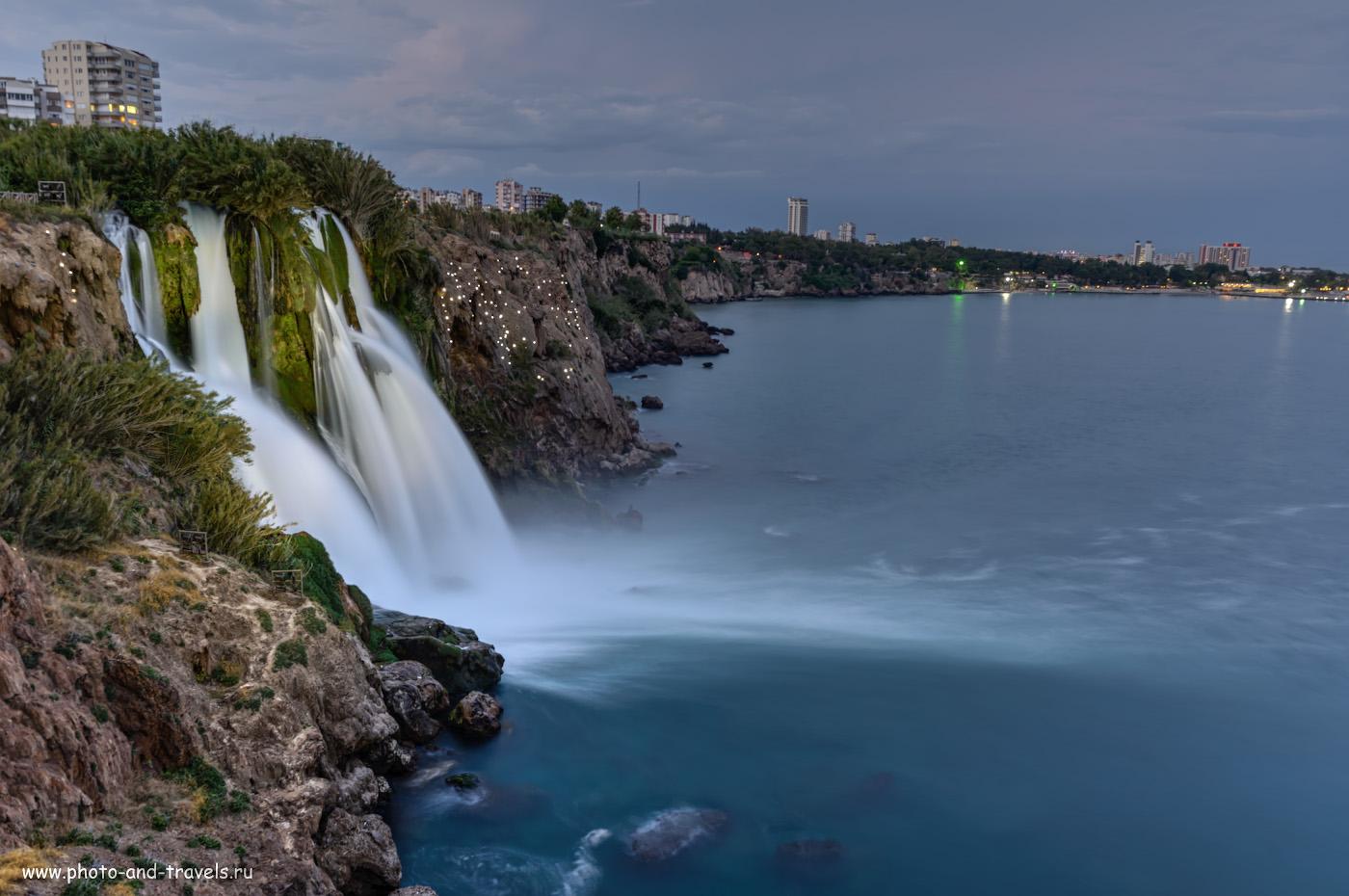 Фото 8. Нижний Дюденский водопад (Düden Şelalesi) – одна из визитных карточек Анталии. Какие интересные достопримечательности можно увидеть в этом курорте. Отзывы туристов об отдыхе в Турции в мае. Настройки: 5 сек., f/8.0, ISO 100, 28.