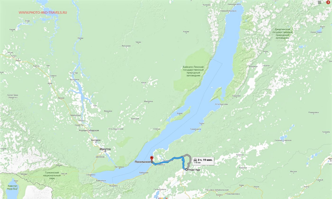 Карта со схемой как доехать на берег Байкала из Улан-Удэ в село Посольское.