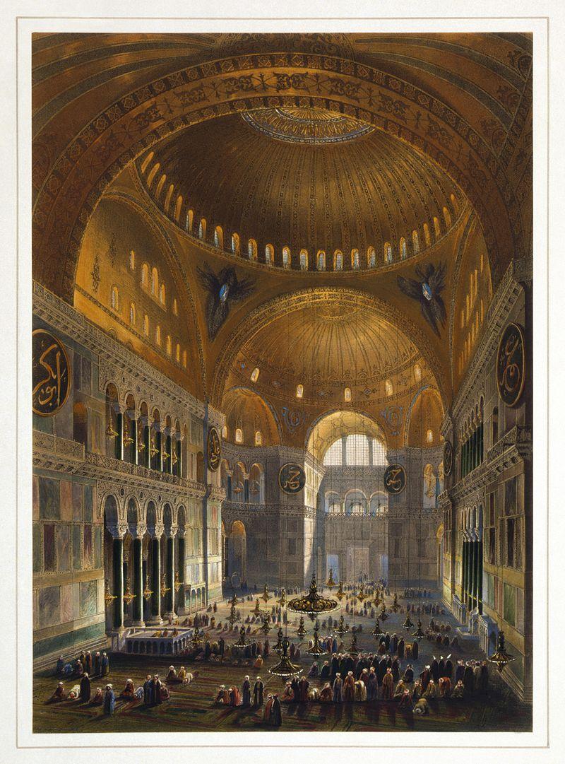 Фото 31. Так Собор Святой Софии выглядел во времена, когда он служил мечетью. Литография с картины итальянца Гаспара Фоссати, выполненная литографом Louis Haghe в 1852 году.