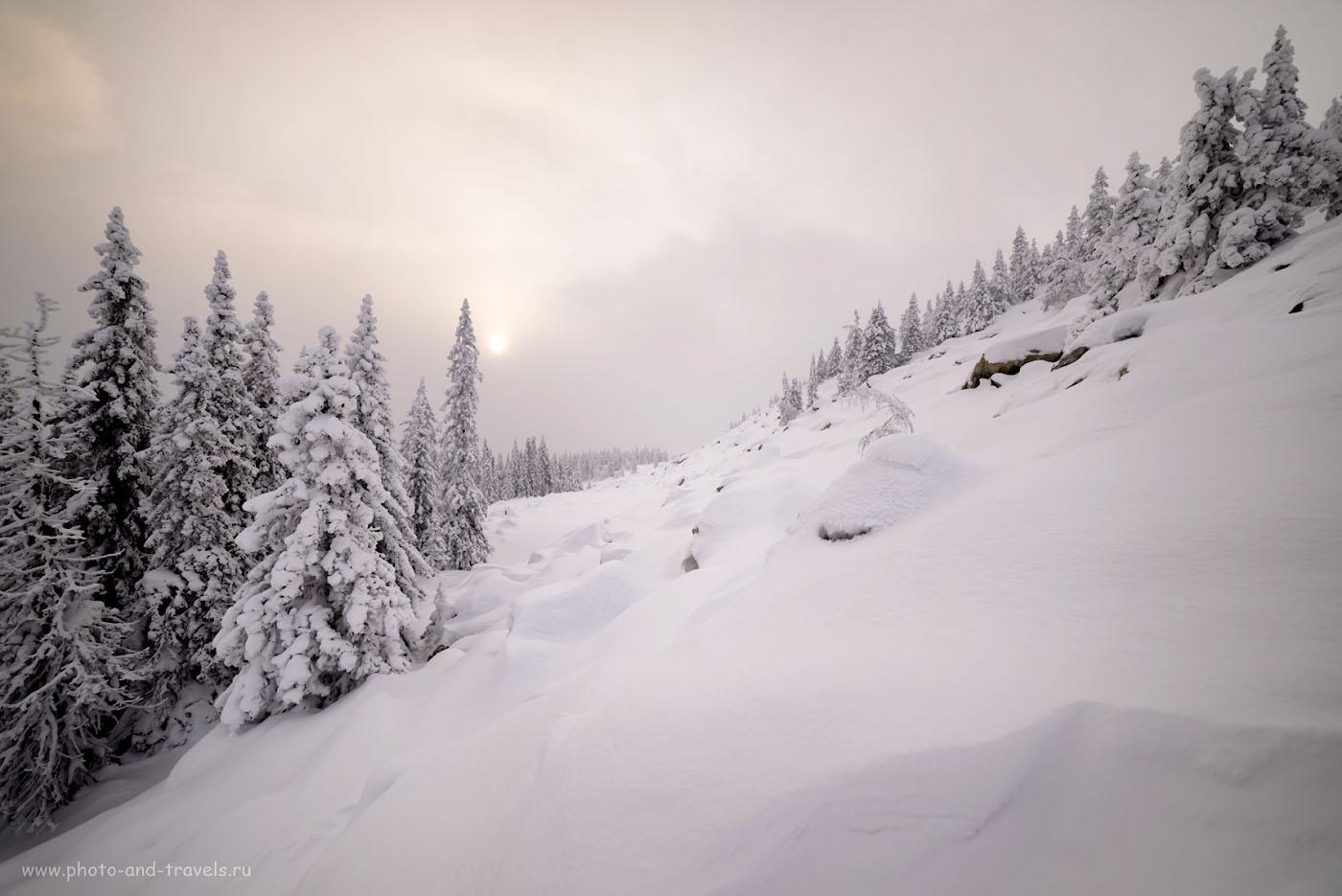 Фотография 15. Курумы у вершины Зюраткуля спят под снежным одеялом. 1/500, 1.0, 2.8, 100, 14.