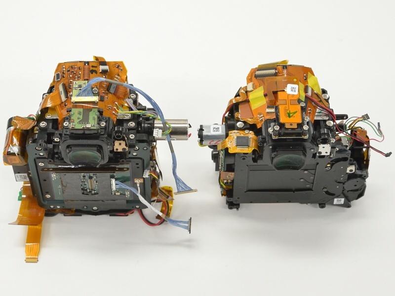 Фотография 6. Разница в механизме затвора Никон Д750 – слева, и Д610 – справа. Перемещение механизма затвора в противоположную от рукоятки сторону корпуса позволило обеспечить нужную глубину хвата Nikon D750.