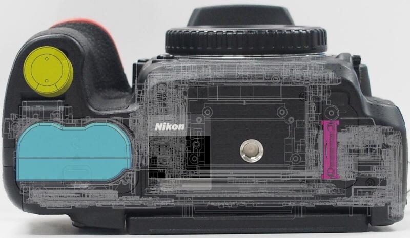 7. Положение аккумулятора в ручке Nikon D750