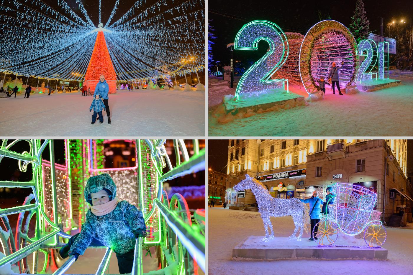 38. На Театральной площади Нижнего Тагила зимой можно прогуляться по ледовому городку у центральной ёлки.