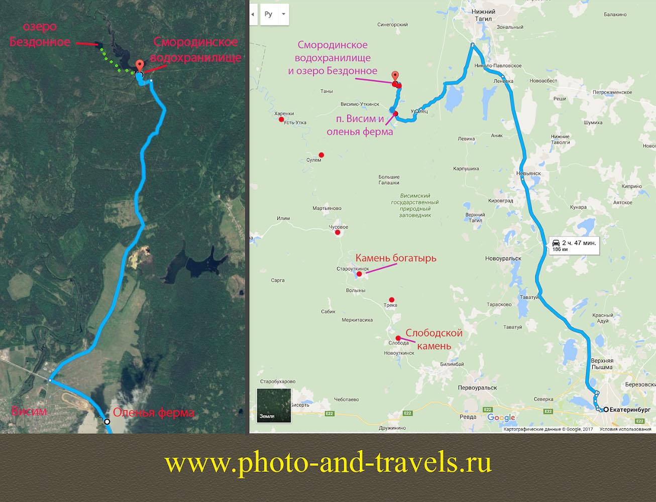 Рисунок 28. Карта со схемой проезда до Оленьей фермы и озера Бездонное.