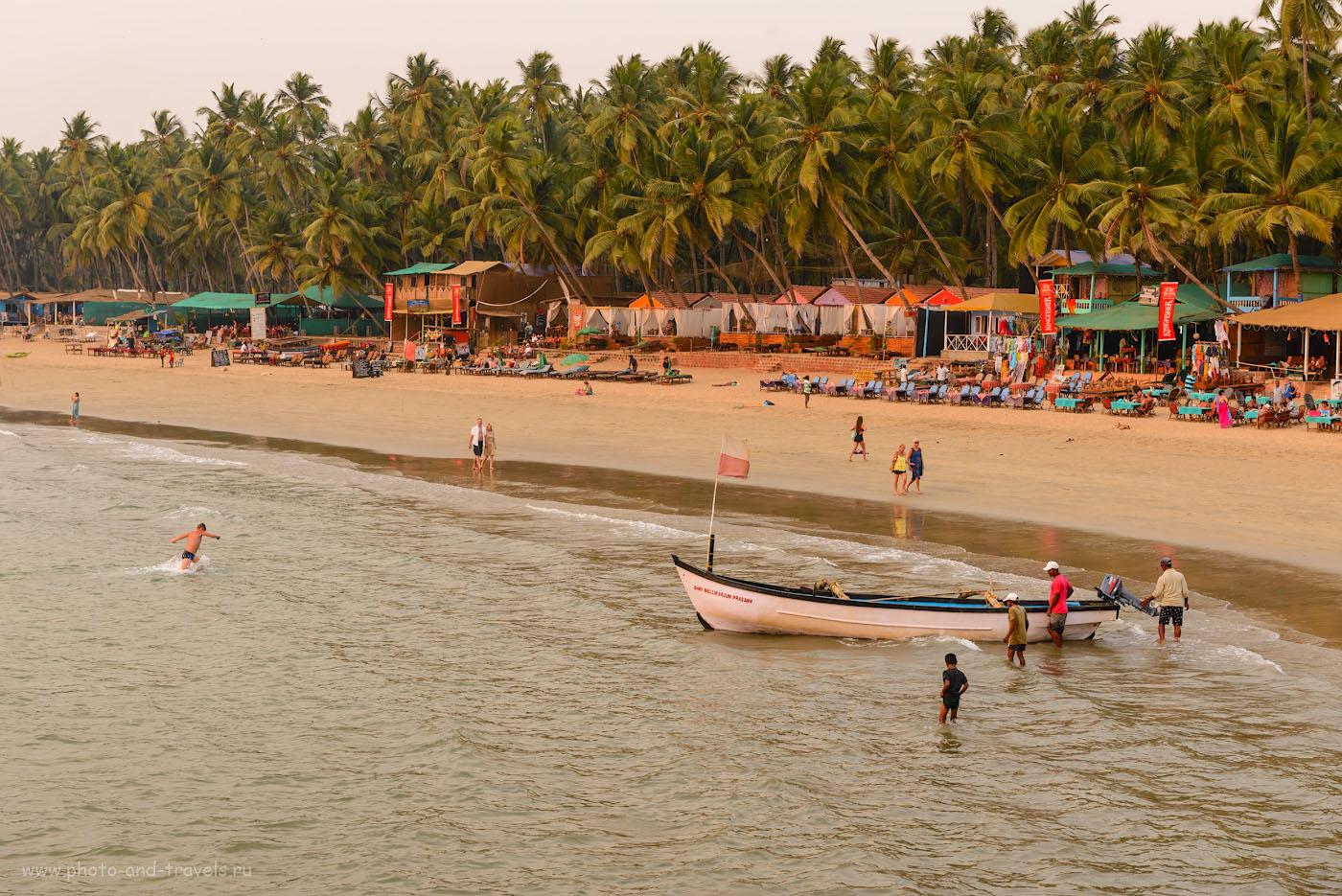 Фотография 29. Вечер на пляже Палолем в Южном Гоа. Отзывы об отдыхе в Индии. Камера Никон Д610 + Никон 24-70мм f/2.8. Настройки: 1/125, 0.33, 8.0, 500, 56.