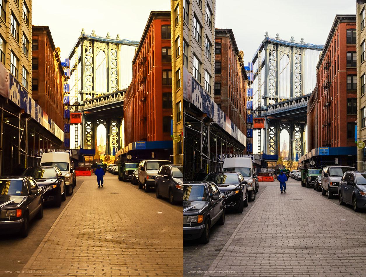 Фото 3. Слева – результат попытки исправить внутрикамерный JPEG в программе Lightroom. Справа – обработка NEF в Лайтруме с последующей доводкой в Photoshop.