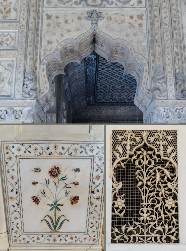 21. Убранство дворцов на территории крепости Лал-Кила (Lal-Qila)
