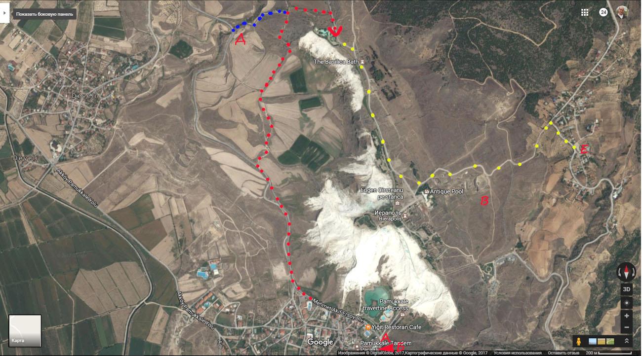 Карта, как пройти в Памуккале на экскурсию бесплатно.