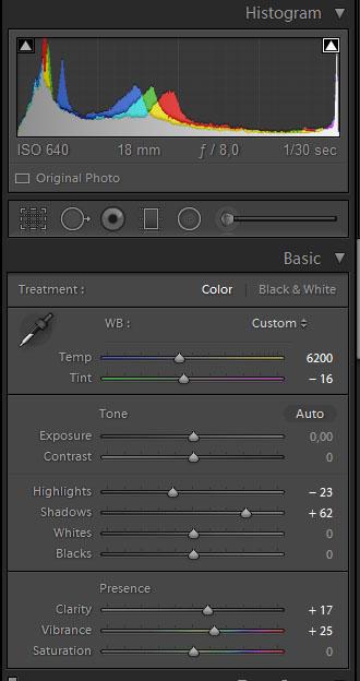 43. Панель «Гистограмма» и «Базовые» в графическом редакторе Lightroom.