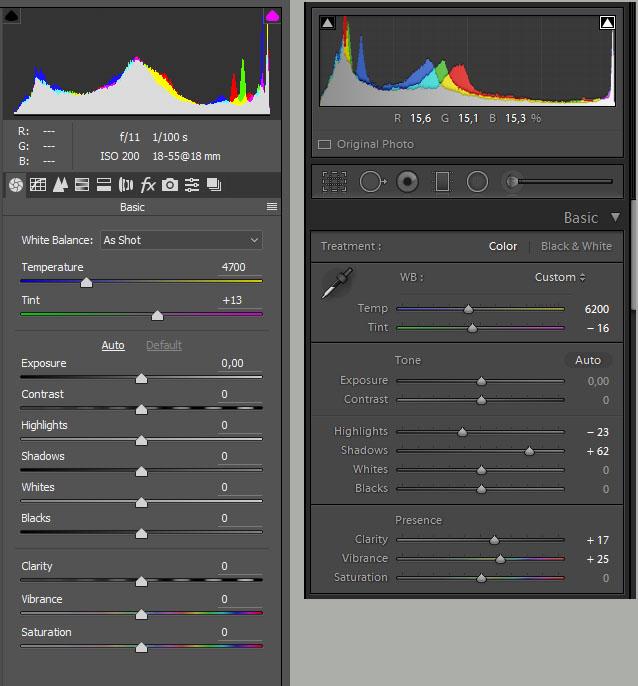 45. Сравнение панелей для базовой обработки снимков формата RAW в программе Photoshop (слева) и Lightroom (справа).