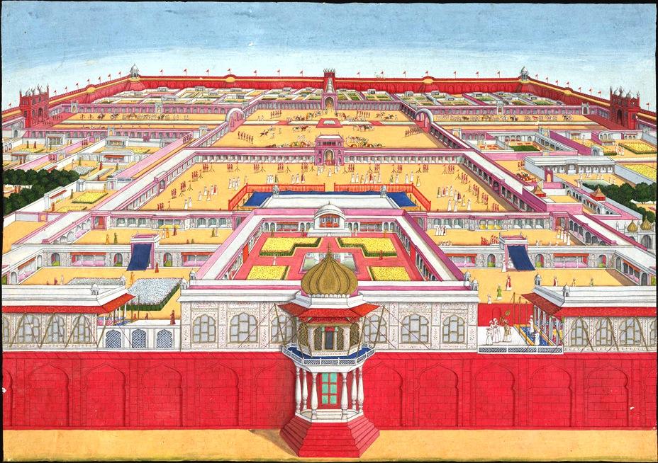 Рисунок 14. Вид на Красный форт с восточной стороны в 1785 году. Слева впереди - дворец Ранг-Махал (Rang Mahal), в центре - дворец Khwabgah Jharoka и мечеть Moti Masjid.