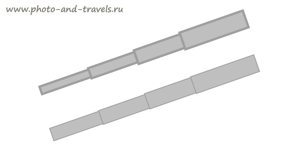Рисунок 3. Слишком узкая трубка из карбона (сверху) получится, если стенки слишком толстые. Нога правильной ширины (снизу) - когда толщина стенок минимальная. Обзор преимуществ штативов Sirui..