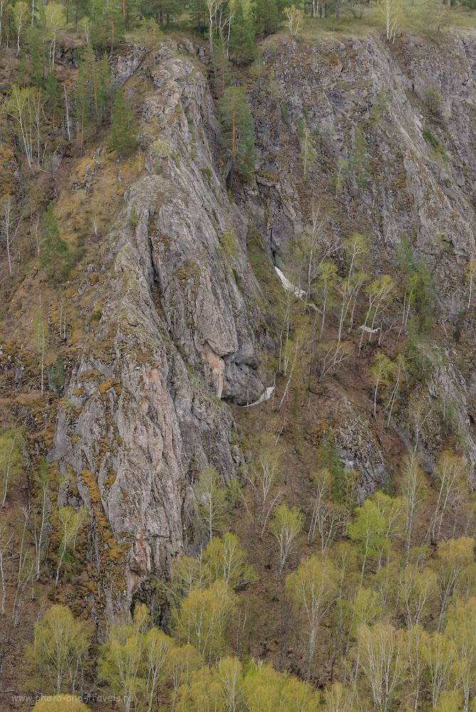 Фотография 21. Скалы в Мурадымовском ущелье. Если дерево имеет высоту 18-25 метров, то какова высота этого отрога? 1/80, -0.33, 8.0, 500, 70.