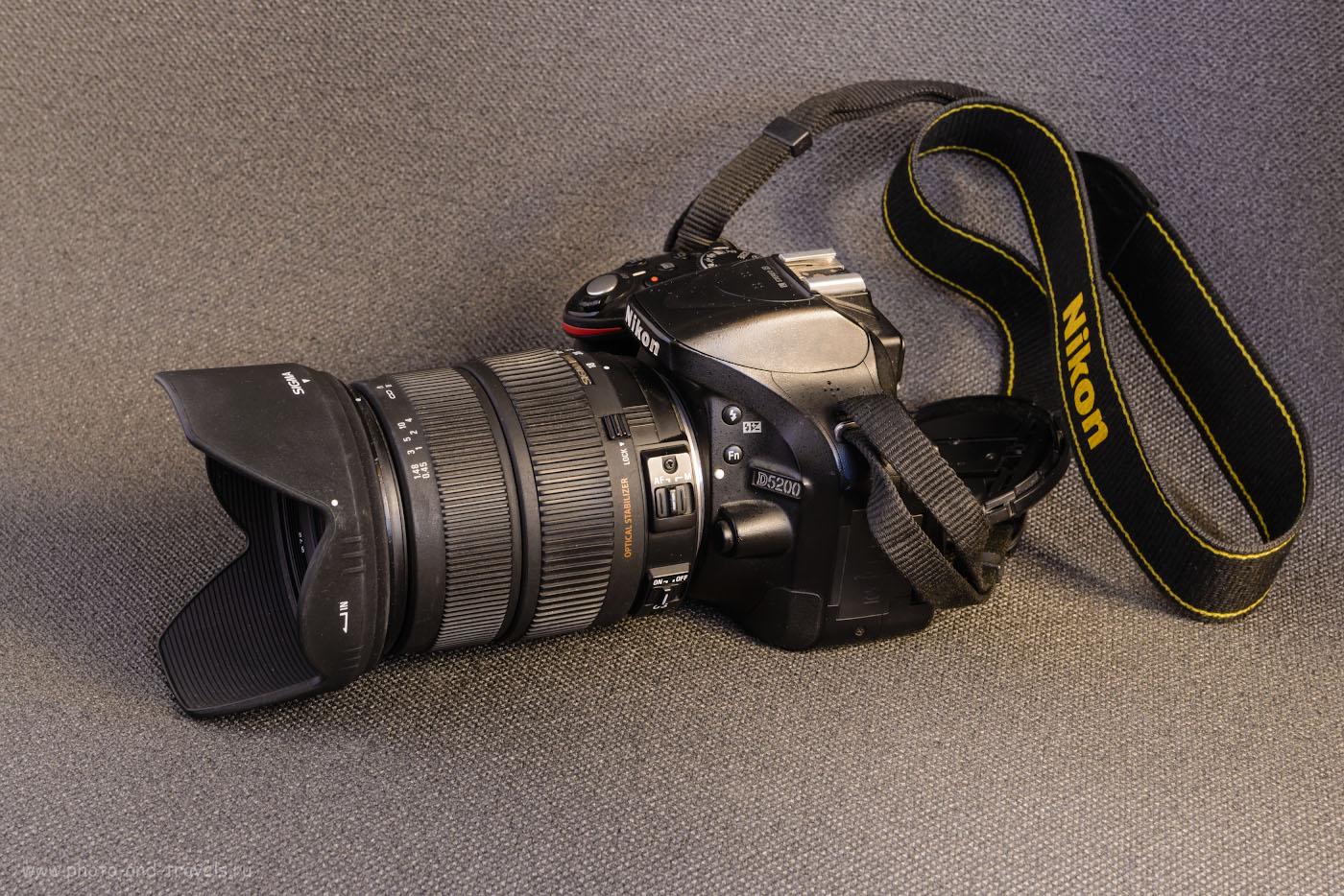 Фото 1. Внешний вид объектива Sigma 18-200, установленного на тушку Nikon D5200.