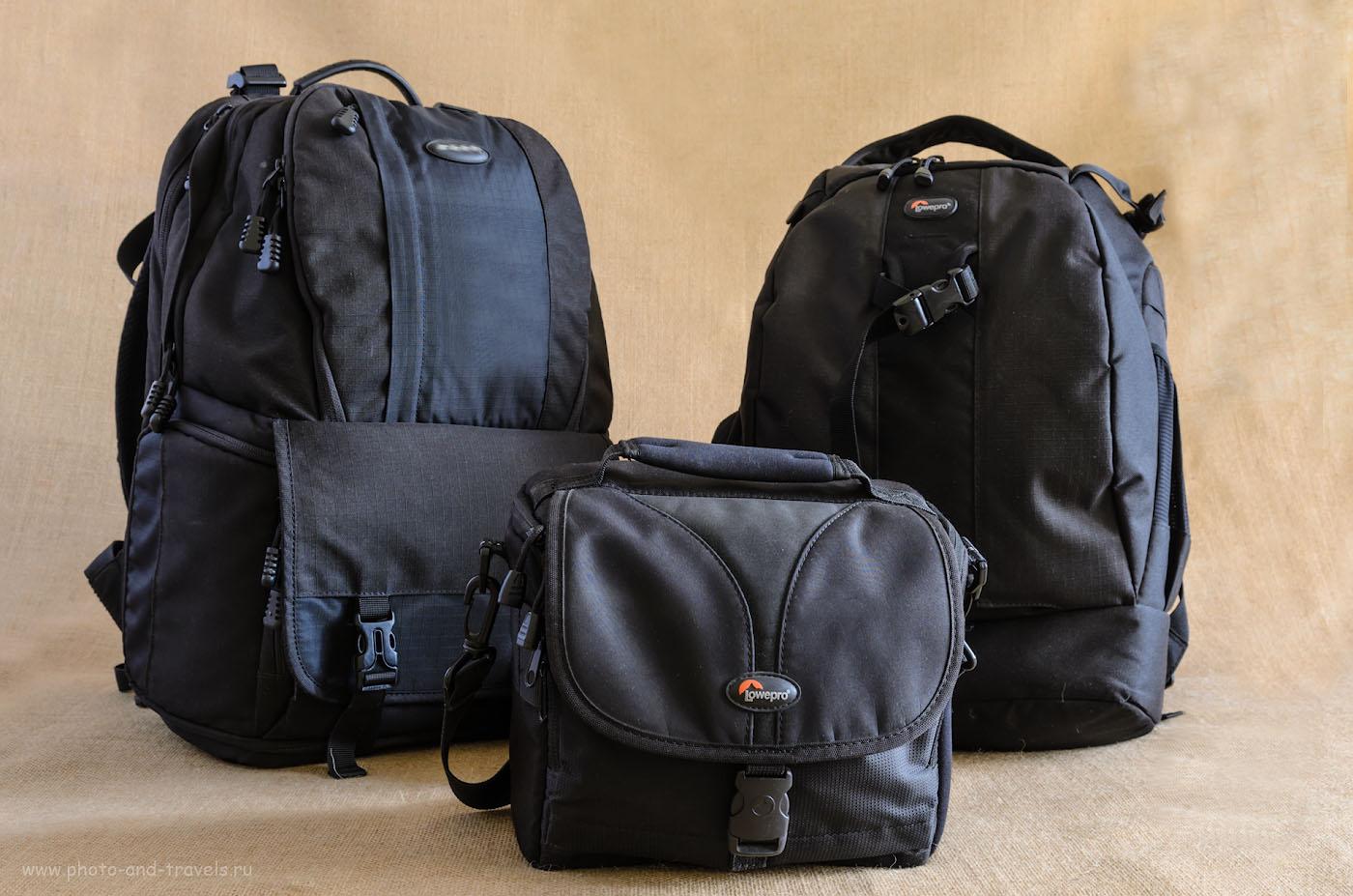 Фото 1. Опыт использования фотосумки и фоторюкзаков для переноски фототехники. На переднем плане – сумка Lowepro Nova 160 AW, слева – мой предыдущий рюкзак, справа – моя обновка Lowepro Flipside 400 AW.