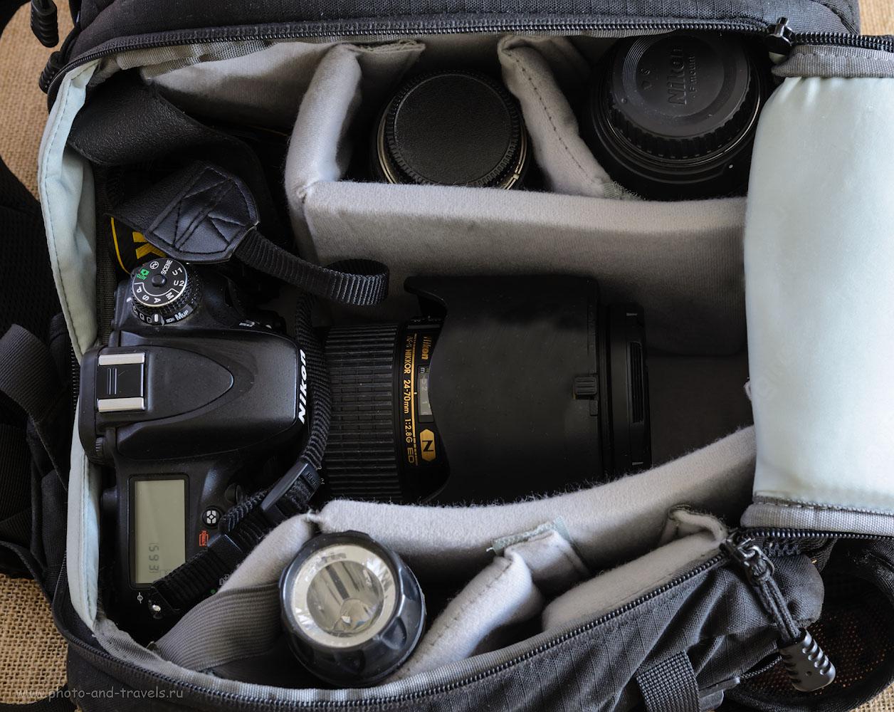 Фото 2. В моём предыдущем рюкзаке было отделение для фотоаппарата и для личных вещей. Спокойно входила тушка Nikon D610 + универсальный зум Nikon 24-70mm f/2.8 + телеобъектив Nikon 70-300mm f/4.5-5.6 + ширик Samyang 14mm f/2.8. Еще место оставалось для небольших фиксов или вспышки.