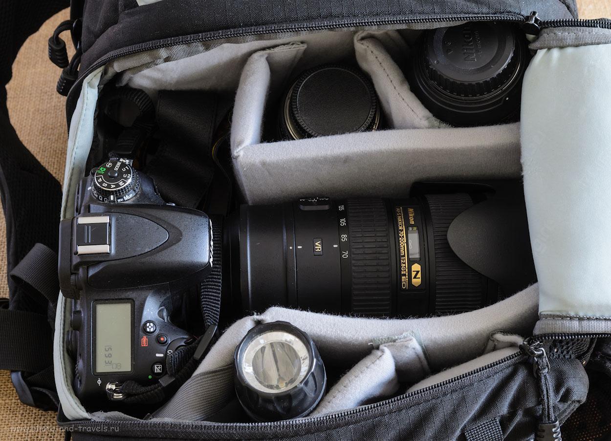 Фотография 3. Приобретение нового телеобъектива может обернуться для фотографа необходимостью купить новый фоторюкзак. Система Никон Д610 + телеобъектив Никон 70-200/2,8 входит в мой аналог Lowepro Fastpack 250, но с натягом, что не есть хорошо.