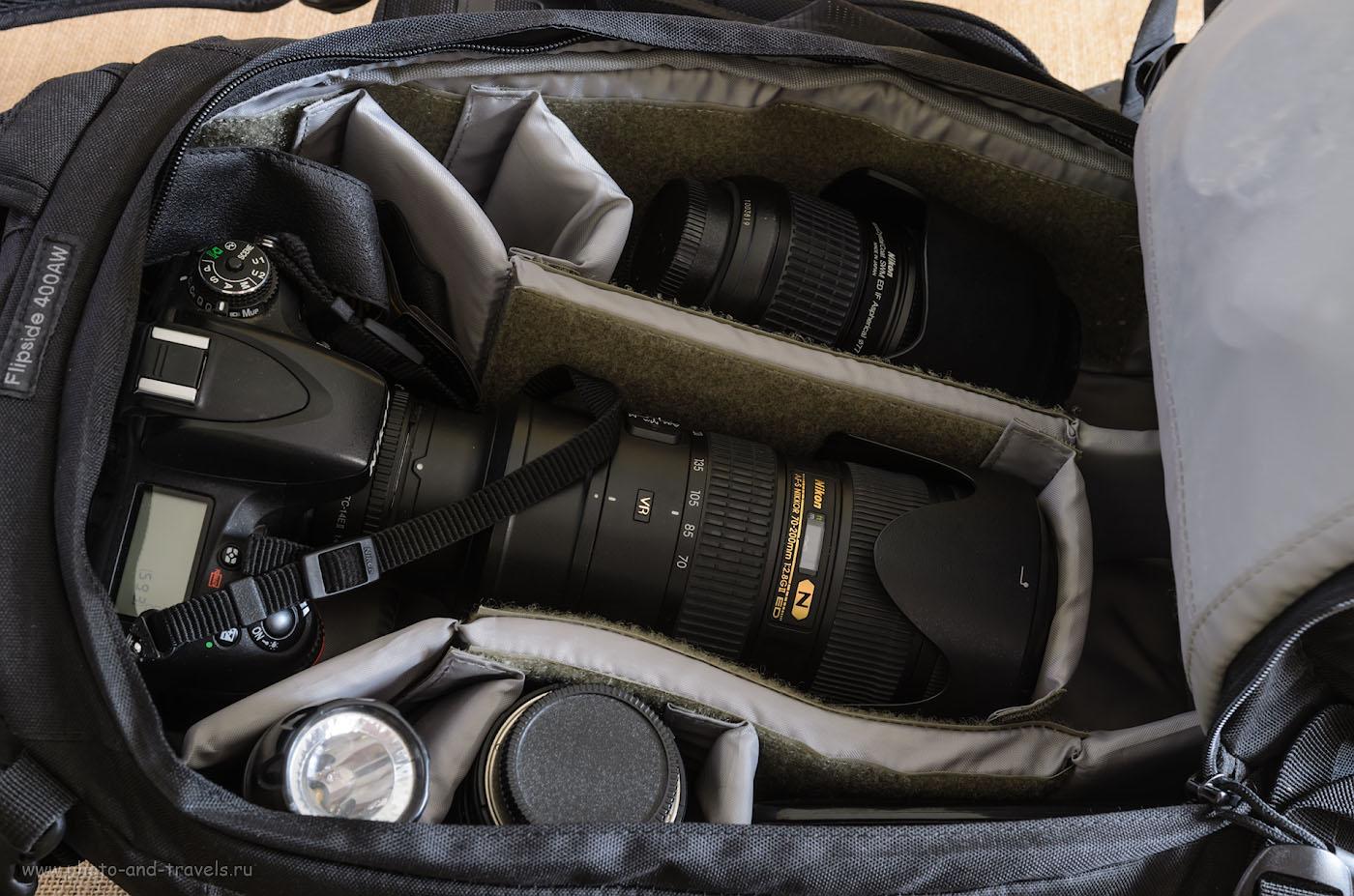 Фото 9. Если мы меняем универсальную линзу Nikon 24-70mm f/2.8 на телеобъектив Nikon 70-200mm f/2.8, то даже с экстендером Nikon TC-14E II, он может храниться в рюкзаке для фотоаппарата Lowepro Flipside 400 AW в собранном виде.