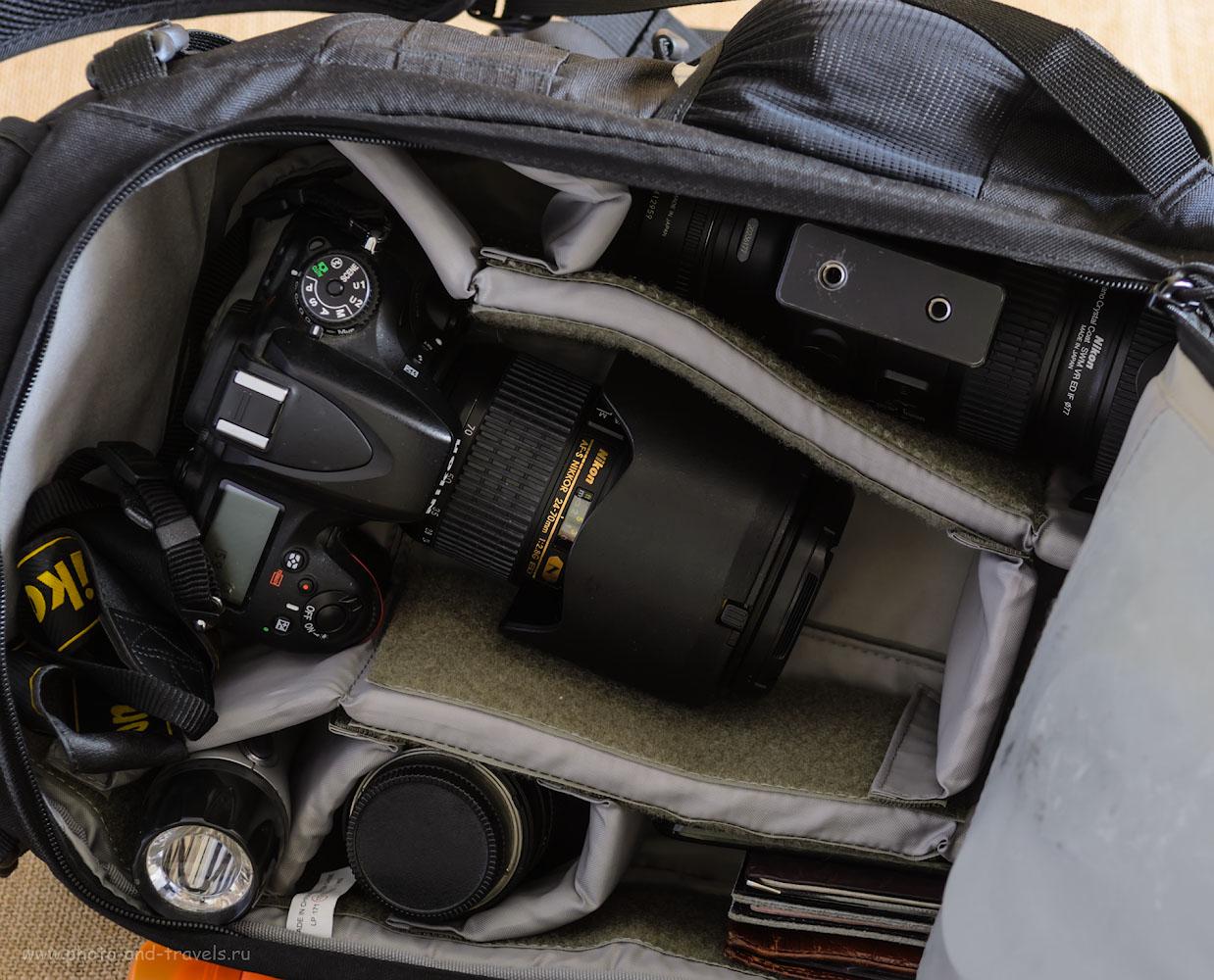 Фотография 8. Объемная камера фоторюкзака Lowepro Flipside 400 AW позволяет одновременно держать накрученным на тушку Nikon D610 репортажник Nikon 24-70mm f/2.8 и есть место для телевика Nikon 70-200mm f/2.8.