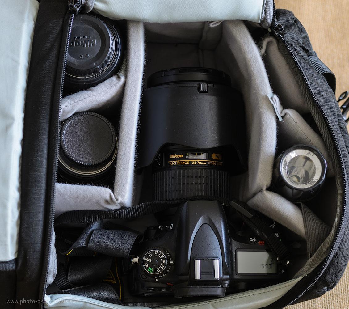 Фотография 11. Использование фоторюкзака для хранения полнокадрового фотоаппарата Nikon D610 и набора объективов к нему.