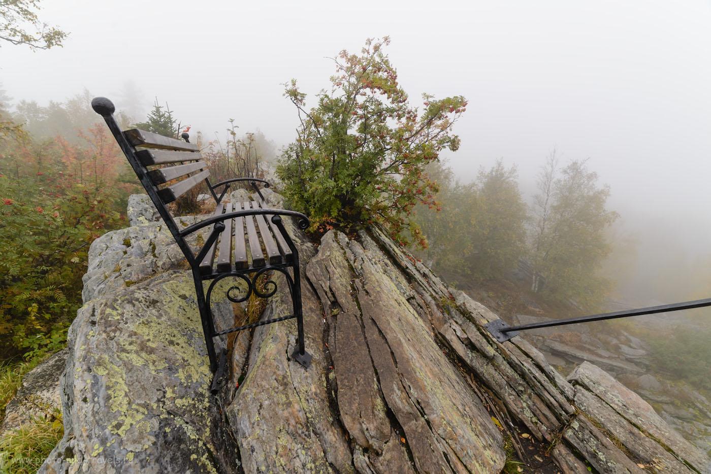 Изображение 18. Заколдованная скамейка с видом в никуда на смотровой площадке Черная сказка в национальном парке «Таганай». 1/160, -1.67, 9.0, 450, 14