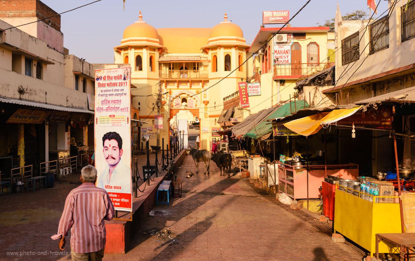 Фотография 15. Где остановиться в Орчхе? Рекомендую наш гестхаус «Shri Mahant Guest House Orchha» - смотри вывеску справа вверху. 1/200, 7.1, 100, 38.