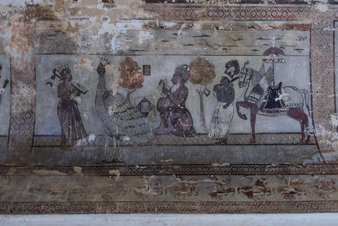 Фотография 28. Сцены из индийских эпосов на средневековых фресках во дворце Радж-Махал. Отзыв о самостоятельной поездке в Орчху.