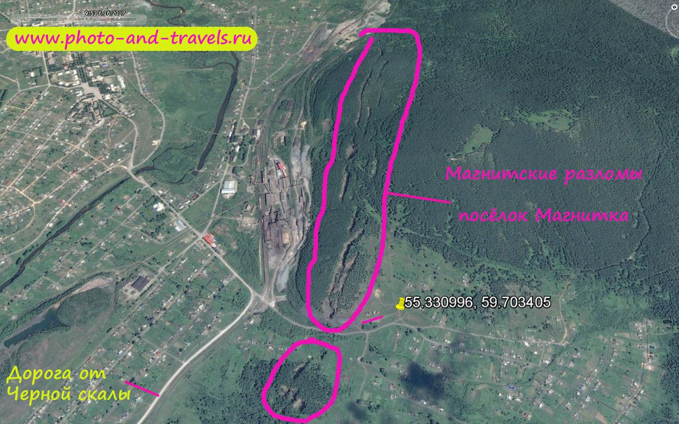 Карта со схемой расположения Магнитских разломов на окраине поселка Магнитка, что рядом с Центральной усадьбой национального парка Таганай.