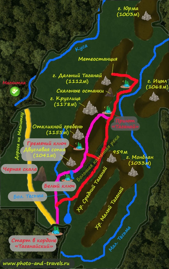 1. Карта территории национального парка «Таганай» со схемой маршрутов для похода на 1-2 и более дней.