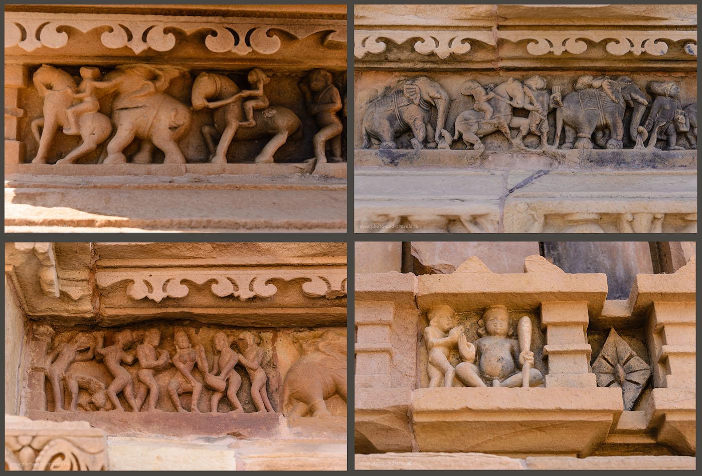 Фотография 6. Изразцы на стенах храмов в Кхаджурахо. Отзывы о самостоятельном отдыхе в Индии.