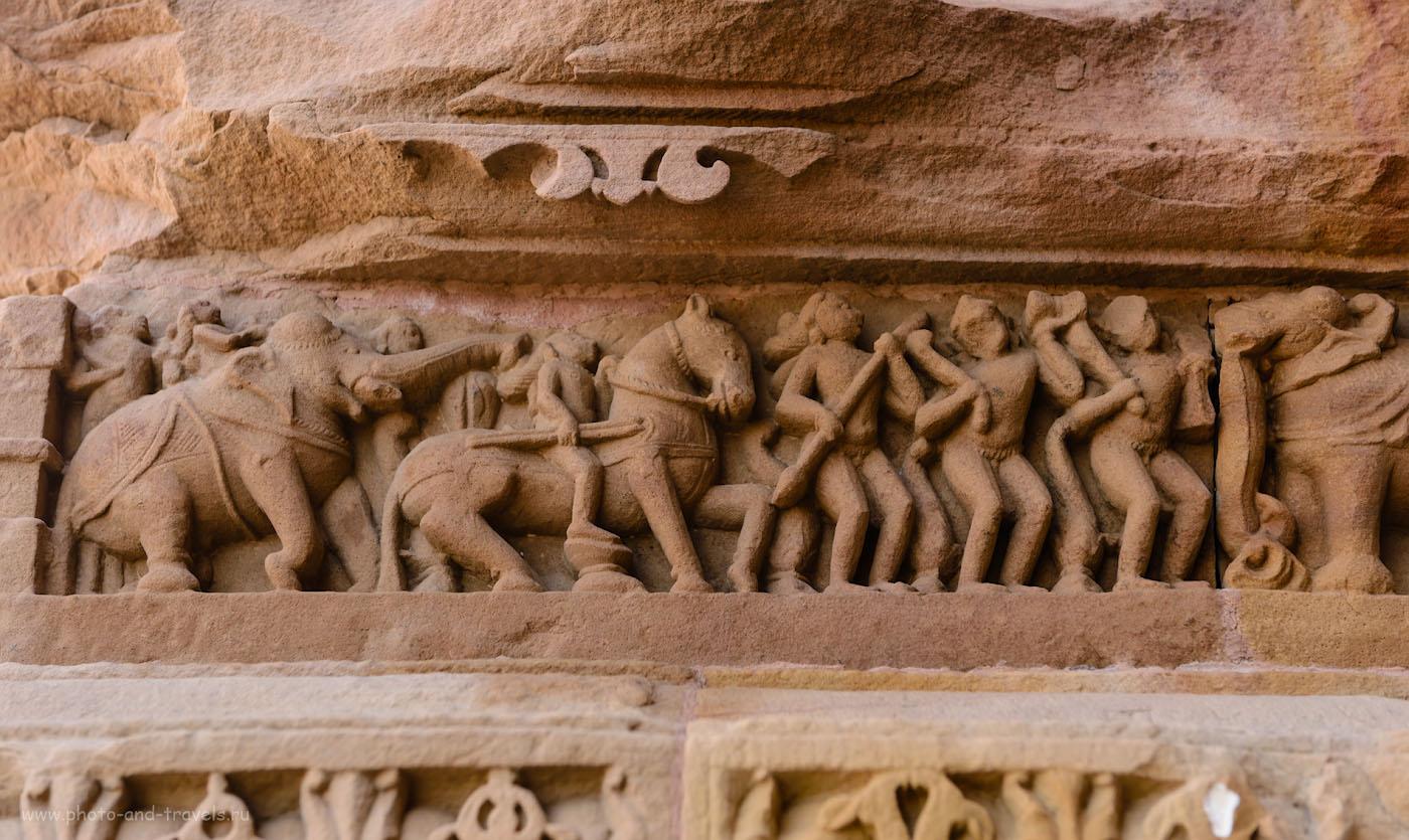 Фото 7. Вы целый день можете бродить по парку и рассматривать фигурки на стенах храмов в Кхаджурахо. 1/125, 4.5, 220, 58.