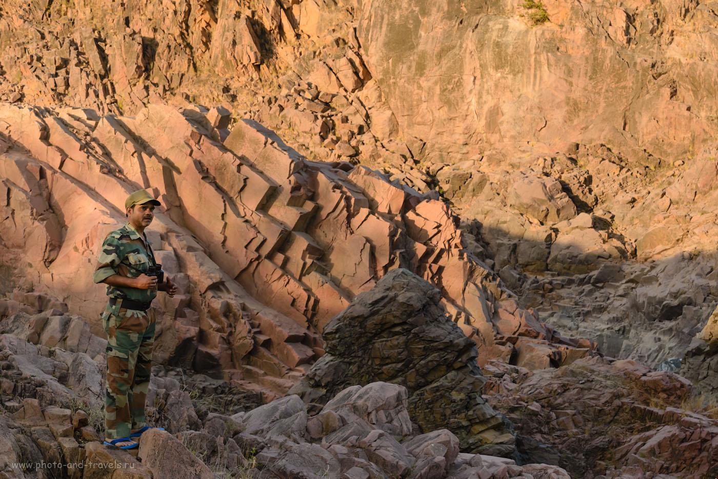 Фото 8. Гид в природном парке высматривает крокодила в окрестностях водопадов Raneh Falls. Куда поехать из Кхаджурахо. 1/200, 0.33, 14.0, 1250, 100.