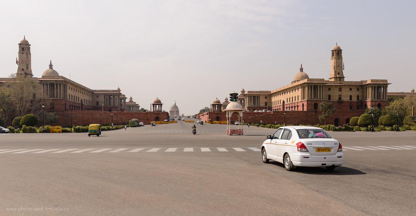 Фотография 28. Вид на Президентский дворец Раштрапати-Бхаван (Rashtrapati Bhavan) в Дели. Отзыв о поездке в Правительственный квартал.