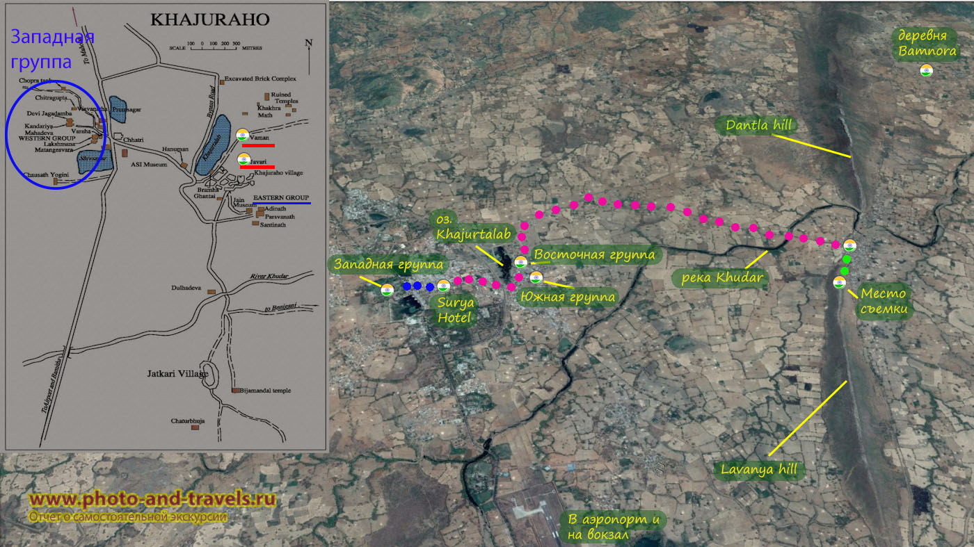 Карта со схемой расположения храмов в Кхаджурахо и маршрутом поездки на велосипеде к холмам Dantla Hill и Lavanya Hill.