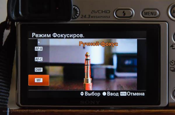 Фотография 6. Демонстрация работы функции Focus Peaking при наведении резкости вручную.