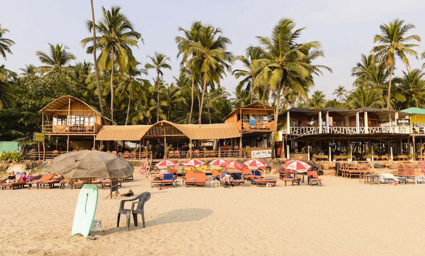 Фотография 4. Ресторан «Café del Mar» на пляже Palolem Beach в Южном Гоа. Днем мы отдыхали именно здесь. 1/125, +0.67, 9.0, 100, 24.